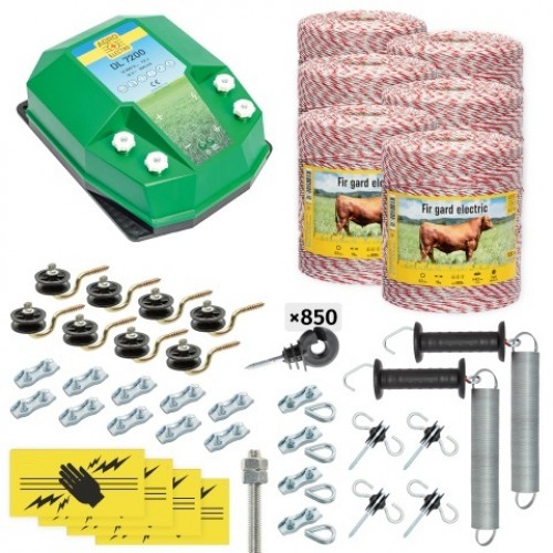 Пълен/професионален комплект електропастир за дом.животни - DL-7.2 J 6000 m с якост на опъна 95 kg