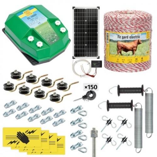 Пълен/професионален комплект електропастир - DL-4.5 J 1000 m с якост на опъна 95 kg с 40W соларен панел