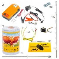 Пълен/професионален комплект електропастир за дом.животни - DL-1.0 J 250 m с якост на опъна 65 kg, с 30 колчета 105 cm