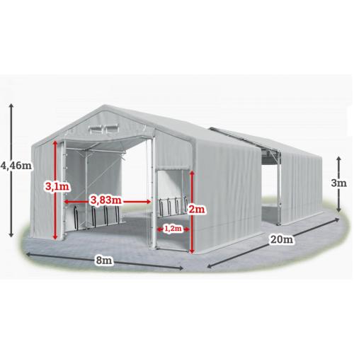 Мобилно хале с размери 8 x 20 x 3 m / 4.46 m - Euroagro