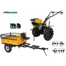 Комплект бензинова мотофреза 13 к.с., ремарке, моторно и трансмисионно масло