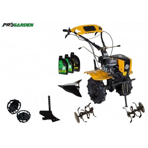 Комплект бензинова мотофреза, 7 к.с., комплект колела, регулируем браздир, единичен плуг и масла