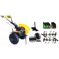 Комплект бензинова мотофреза, без диф.,18 к.с., с комплект колела, единичен плуг, моторно и трансмисионно масло