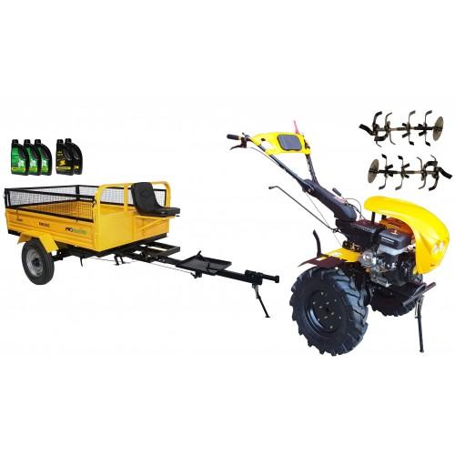 Комплект бензинова мотофреза, без диф.,18 к.с., с ремарке 600 kg, капаци, работни фрези, моторно и трансмисионно масло