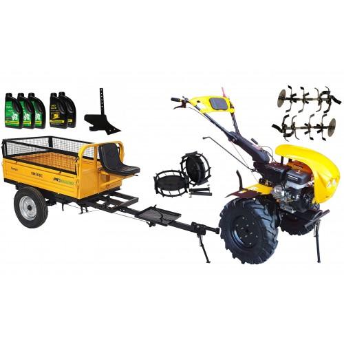 Комплект бензинова мотофреза, без диф.,18 к.с., с ремарке 500 kg, комплект колела, единичен плуг, моторно и трансмисионно масло
