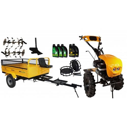 Комплект бензинова мотофреза, с диф., 18 к.с., с ремарке 600 kg, комплект колела, единичен плуг, моторно и трансмисионно масло