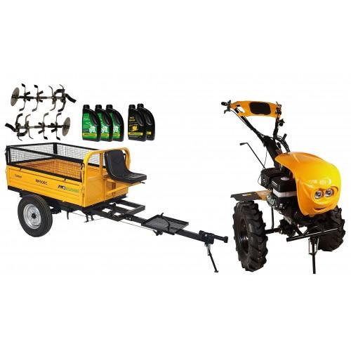 Комплект бензинова мотофреза, с диф., 18 к.с., с ремарке 500 kg, моторно и трансмисионно масло
