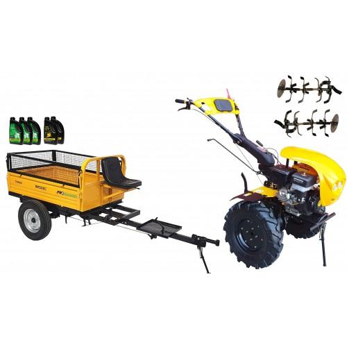 Комплект бензинова мотофреза, без диф.,18 к.с., с ремарке 500 kg, капаци, работни фрези, моторно и трансмисионно масло