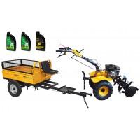 Комплект бензинова мотофреза ProGARDEN HS1000BW 7.5 к.с., с ремарке, моторно и трансмисионно масло