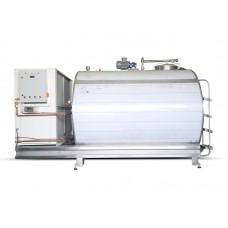 Хоризонтален кръгъл резервоар за охлаждане на мляко - от 2500 до 12 000 литра