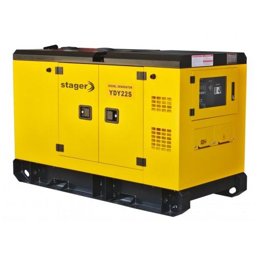 Монофазен дизелов генератор, звукоизолиращ - Stager YD22S 20kVA, 87A, 1500rpm