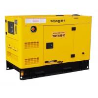 Монофазен дизелов генератор, звукоизолиращ - Stager YDY15S-E 14kVA, 57A, 1500rpm