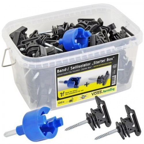 Изолатор за лента и тел - 100 бр + устройство за пробиване на резби