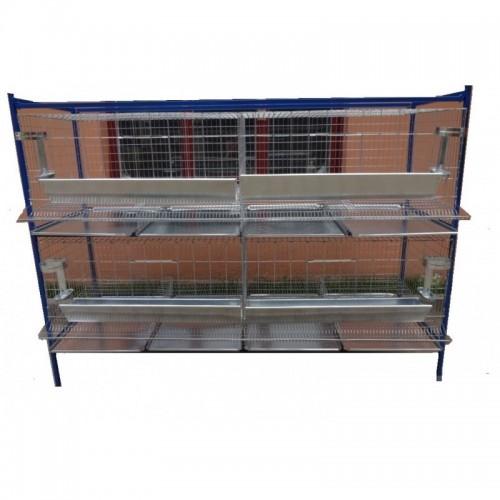 Модулна система с 2 нива клетки за кокошки носачки - 200x75x145 cm - Euroagro