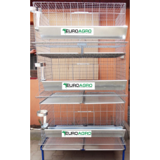 Модулна система с 3 нива клетки за кокошки носачки - 100x75x200 cm - Euroagro