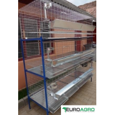 Модулна система с 3 нива клетки за кокошки носачки - 200x75x200 cm - Euroagro
