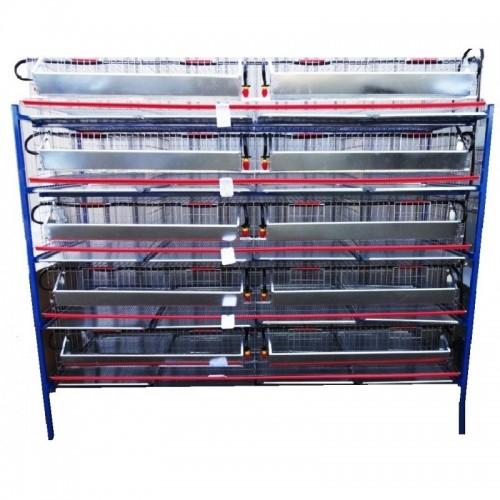 Модулна система с 5 нива клетки за пъдпъдъци - 200 cm - Euroagro