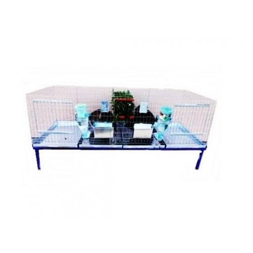 Клетка за зайци с две отделения - 200x60x50 cm - Euroagro