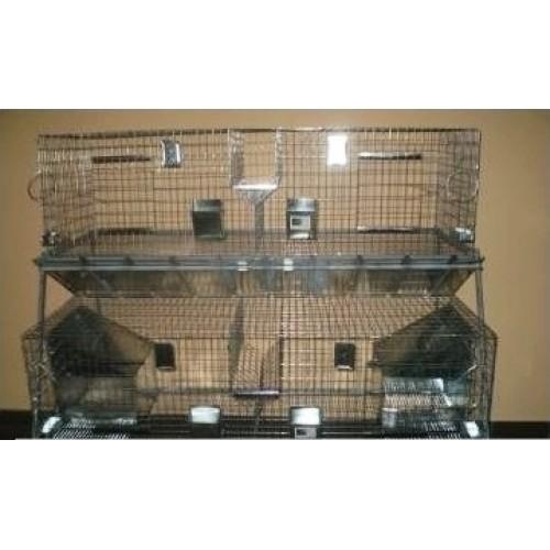 Модулна система с 2 клетки за зайци с две отделения - 160x80x165 cm - Euroagro