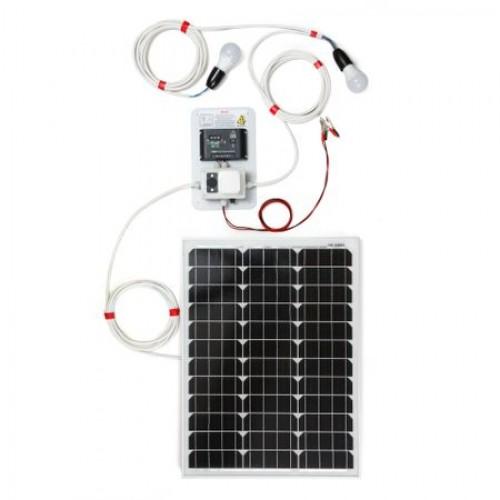 50W фотоволтаична система за осветление с 2 крушки