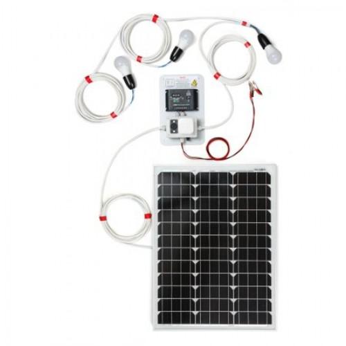 50W фотоволтаична система за осветление с 3 крушки