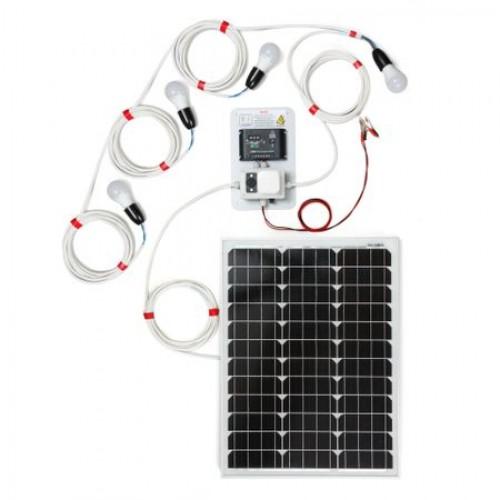 50W фотоволтаична система за осветление с 4 крушки