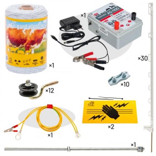Комплект електропастир - 400 м с якост на опъна 65 кг. + 30 бр. пластмасови колчета